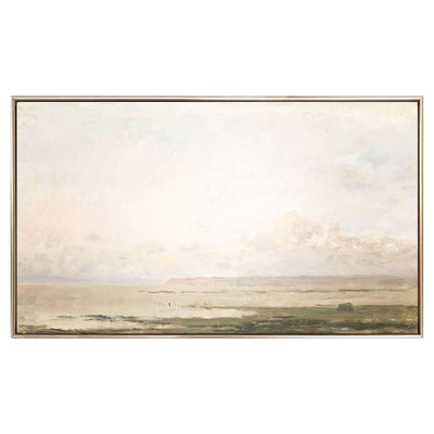 The Tidal Calm framed canvas is a traditional pre-expressionist piece with loose brushwork in dusty blush and green tones.