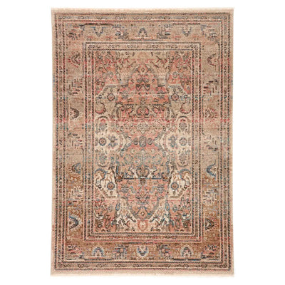 Turkish design inspired rug made of polypropylene and polyester. A combination of faded and moody hues including terracotta, blush, blue, tan and ivory.