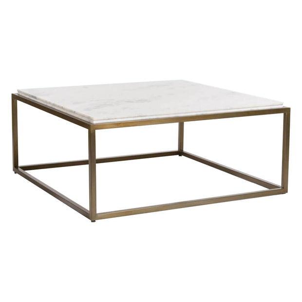 Modern, square coffee table with an antique brass frame and white marble top with beveled edges.