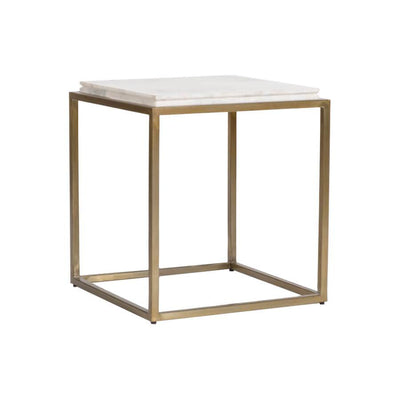 The Chestnut Park Side Table has a white marble top and antique brass frame in a cube shape.