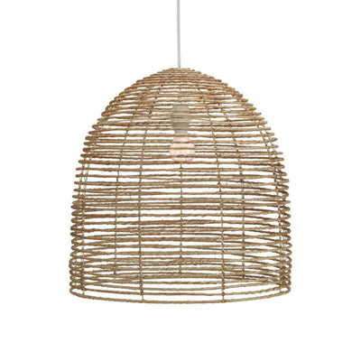 The Auckland Chandelier is a beehive shaped chandelier wrapped in jute and is collapsible.