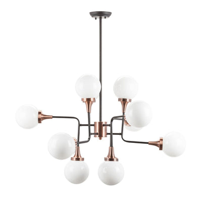 Victoria Pendant. Modern chandelier pendant with customizable frame in a matted copper finish.