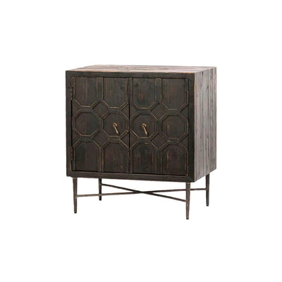 Sideboard made from recycled wood with a dark wash finish and has two doors with an intricate front pattern.