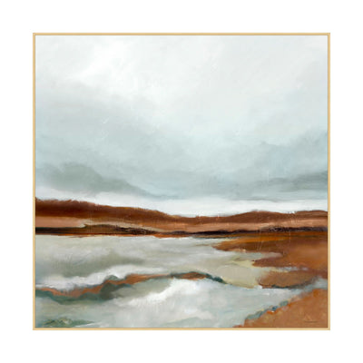 A painting of a whimsical marsh. Mix of light blues and greys with deep velvety browns create this nature scene.
