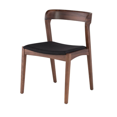 Scandinavian inspired dining room chair with solid wood frame and upholstered seat cushion.