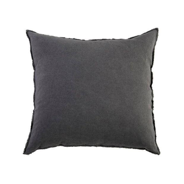 Dark grey 100% linen pillow sham with frayed edges and a tie closure.