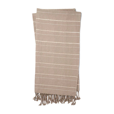 A textural grey and natural toned cotton throw with a simple stripped pattern and fringed edge.