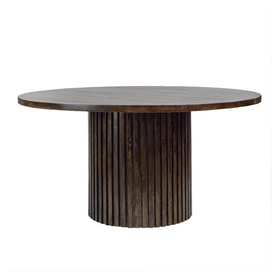 Brayden Round Dining Table with ribbed wooden base and table top in an aged ash tone and distinct mango wood grain.