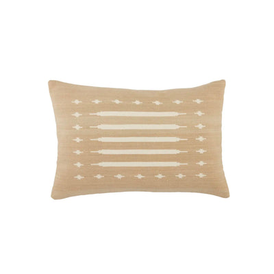 Indoor lumbar pillow made of 100% cotton with a soft tribal pattern and 100% down fill. The cotton is shown in a soft taupe colour with cream tribal pattern.