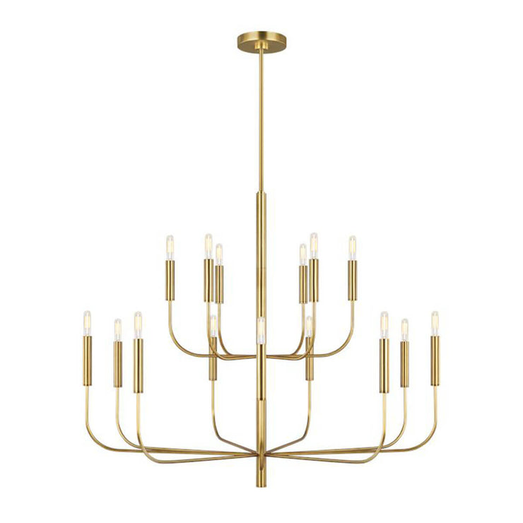 Brighton Chandelier in burnished brass. Ornamental chandelier with an updated traditional feel in a burnished brass finish.