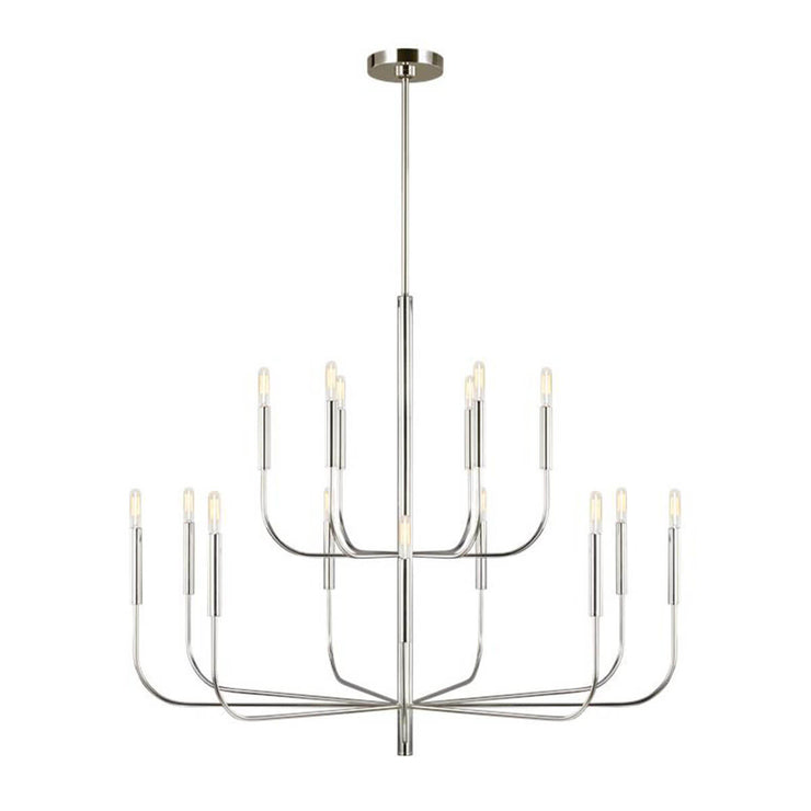 Brighton Chandelier in polished nickel. Traditional shaped chandelier with an updated, modern look in a polished nickel finish.