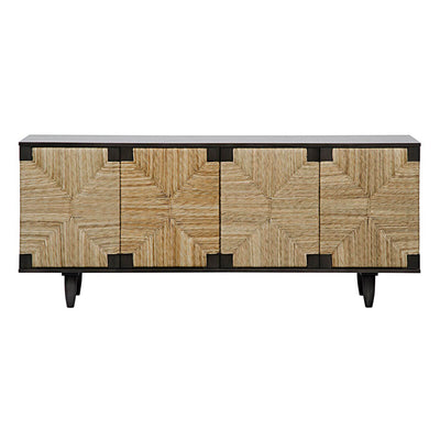 The Caledon Sideboard with a mahogany base and woven seagrass doors in a geometric pattern.