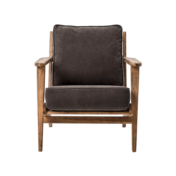 Modern lounge chair with solid wood frame and dark brown cushions.