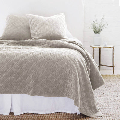 The Waterloo Bedding Collection in taupe made from 100% stonewashed cotton velvet with a diamond quilted pattern.