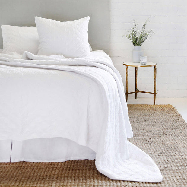 The Waterloo Bedding Collection in white made from 100% stonewashed cotton velvet with a diamond quilted pattern.