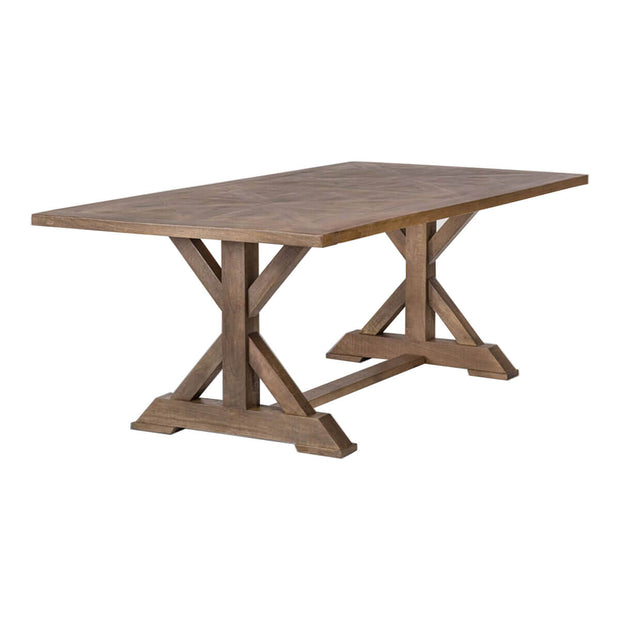 Solid wood traditional dining table with an x-shaped base and inlaid tabletop.