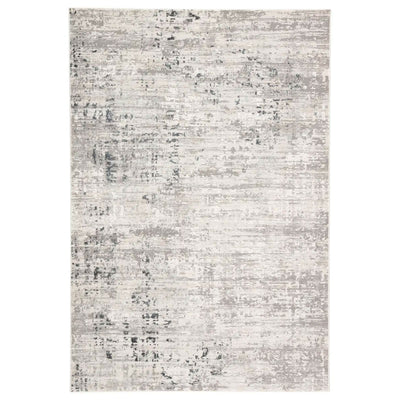 Area rug with silver, charcoal and white tones.