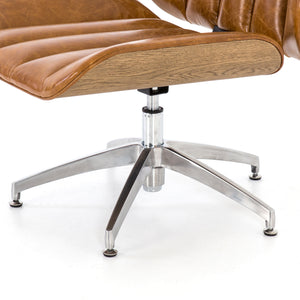 Edison Swivel Chair in Camel Leather Chrome Base