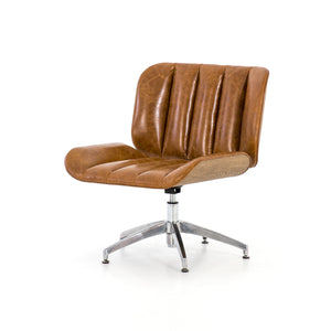 Edison Swivel Chair in Camel Leather