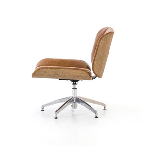 Edison Swivel Chair in Camel Leather side