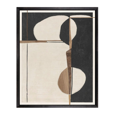 Over The Edge is a black and taupe coloured abstract art piece by artist Gayle Harismowich.