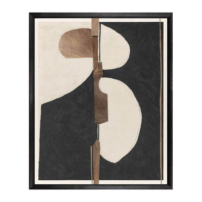 Seeking Balance is a mid century abstract painting with contrasting black and taupe by artist Gayle Harismowich.