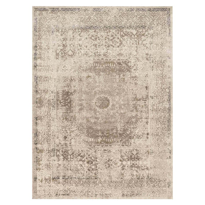 Izmer Taupe / Sand Rug. Distressed patterned rug. Turkish rug. Hand loomed, polyester rug.