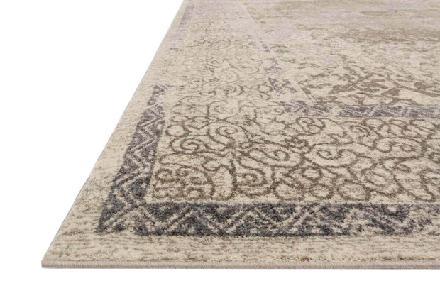 Pattern, texture, and colours of the Izmer Taupe / Sand Rug. Patterned Turkish rug. Distressed Turkish rug.