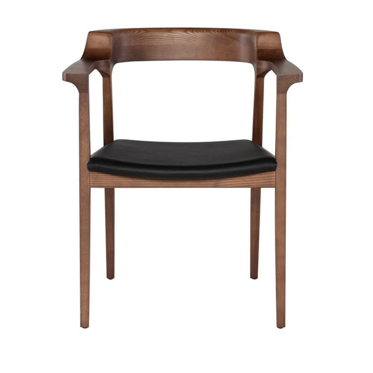 The Odense Dining Chairhas a solid walnut frame in a ash tone finish and black leather seat.