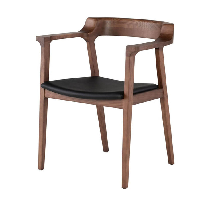 Scandinavian inspired dining chair with a rounded back, solid wood frame, and leather seat cushion.
