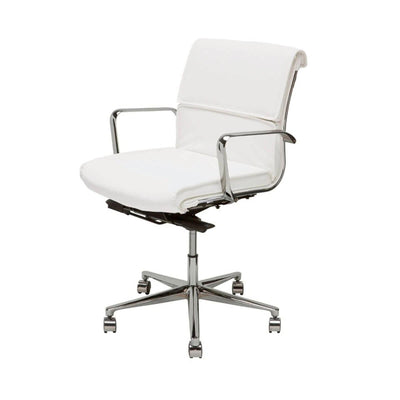 Office Chair with a white, faux leather seat with a chrome, fully adjustable base.