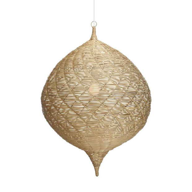 The Maroubra Pendant is a woven rattan chandelier with a modern, Moorish-inspired shape.