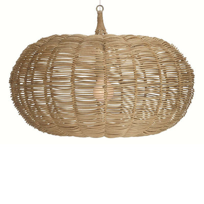 The Byron Pendant is a woven rattan chandelier with a moorish shape.
