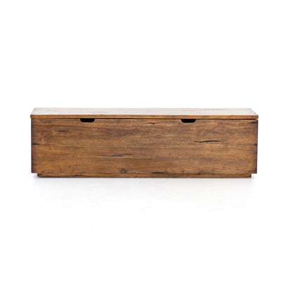 Solid wood trunk with storage for end of bed or hallway.