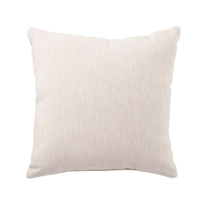 Outdoor square pillow made of durable outdoor material. Light cream colour textile.