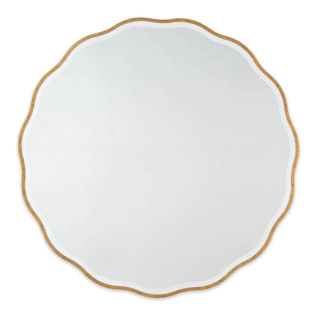 The Atlantica Mirror with scalloped frame and bevelled mirror edge in a gold leaf finish.