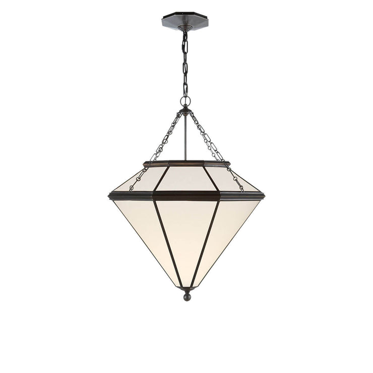 The Cannes Pendant is a geometric shaped ceiling light with a bronze metal frame and hardware and white glass panels.