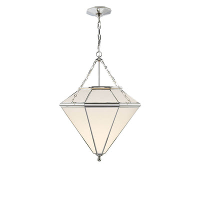 The Cannes Pendant is a geometric shaped ceiling light with a polished nickel metal frame and hardware and white glass panels.