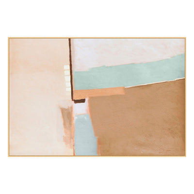 Modern art with aqua, blush and earth tones.
