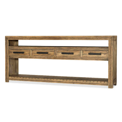Console Table with a large console table made of solid wood with metal bar hardware and a modern farmhouse look.