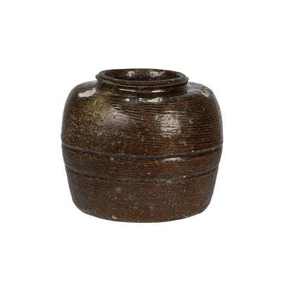 Brown ceramic glazed aged Chinese vintage bean pot.