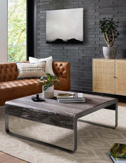 The natural finish Lucknow Sideboard in a modern living room.
