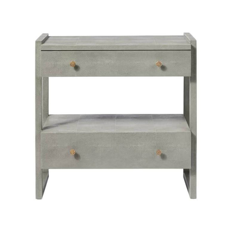 The Bloomington Nightstand has two, wide off-set drawers and geometric framework in a castor grey vintage faux shagreen finish.