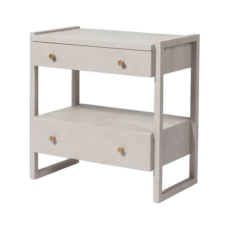 Side view of the light grey nightstand with two, off-set drawers and a geometric frame.