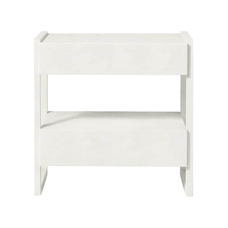 Back view of the modern white nightstand with two, off-set drawers and a geometric frame.