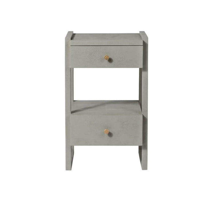 The Bloomington Nightstand has off-set drawers and geometric framework in a castor grey vintage faux shagreen finish.