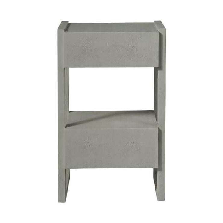 Back view of the dark grey faux shagreen finished nightstand with two off-set drawers.