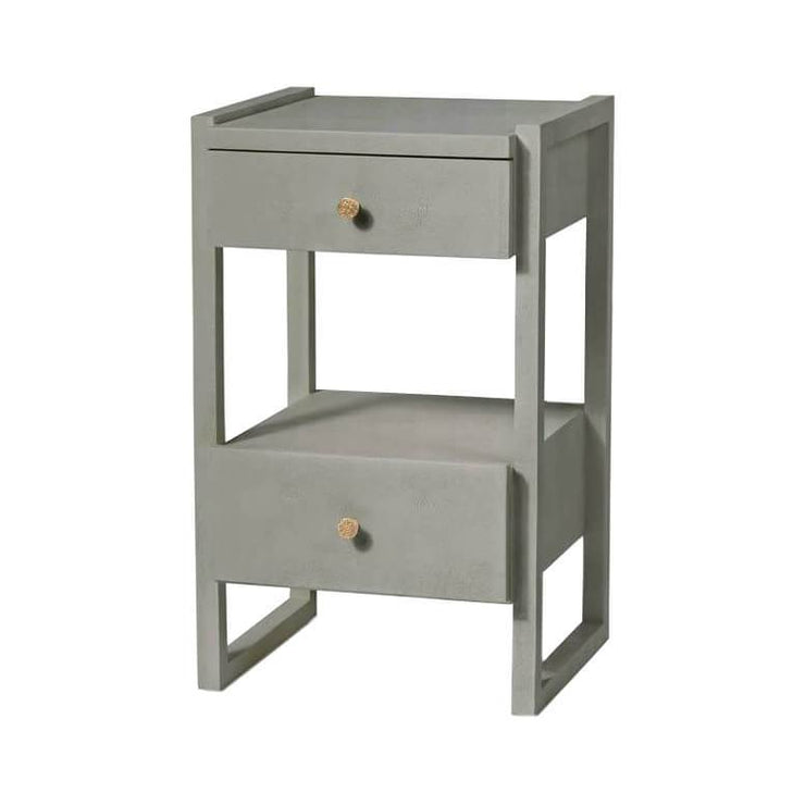 Geometric nightstand in a castor grey vintage faux shagreen finish.