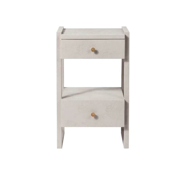 The Bloomington Nightstand has off-set drawers and geometric framework in a french grey vintage faux shagreen finish.