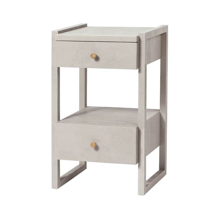 Modern nightstand with a french grey vintage faux shagreen with two off-set drawers and a geometric frame.